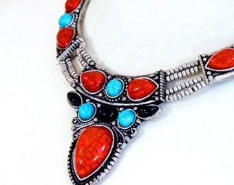 Turquoise necklace, Statement necklace, Gemstone necklace, Vintage necklace - Rachel