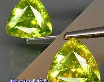 Titanite Sphene Stone Trillion Cut. RARE Gemstone! Natural Titanite gemstone Yellow-Green Colour Trillion Cut. 1.04 ct