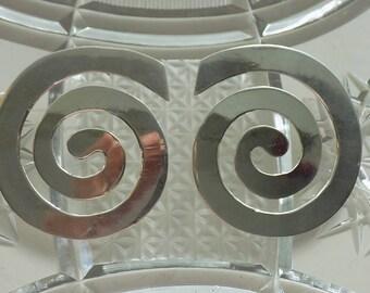 925 Sterling Silver Large Spiral Pierced Earrings| Reiki Symbol Earrings | Silver Earrings