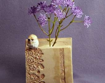 Handmade Ceramic Plant Holder with a Bird