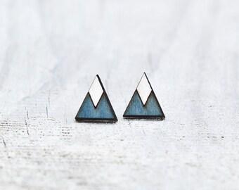 Blue Geometric Earrings, Triangle Earrings, Elegant Minimalist Jewelry, Tribal Earrings, Statement Studs, Native Jewelry, Girlfriend Gift
