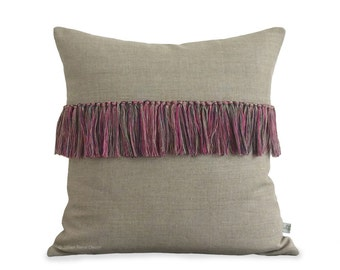 Hot Pink Tassel Fringe Pillow Cover in Natural Linen (Hand-Knotted) Decorative Pillow by JillianReneDecor - Modern Home Decor - Boho Chic