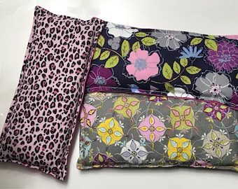 Eye Pillow - Microwavable Heating Pad - Hot/Cold Therapy Eye Pack - flowers and Cheetah print