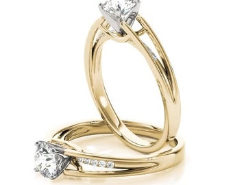 Forever Brilliant Moissanite Diamond Petite Split Band Engagement Ring in Yellow Gold
