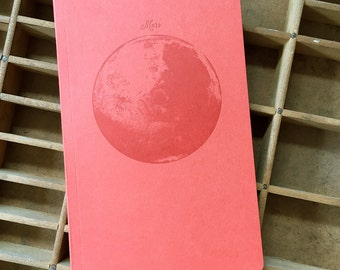 letterpress notebook Mars recycled