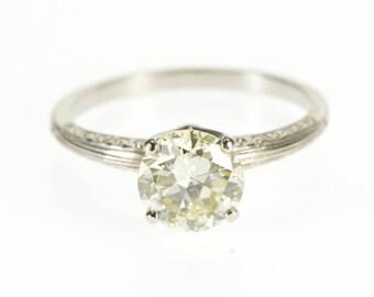 k 1.82 Ctw Diamond Solitaire Prong Set Engagement Ring Platinum