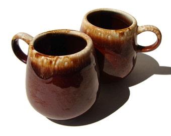 Vintage McCoy Mugs Brown Drip Glaze Set of 2 Cups