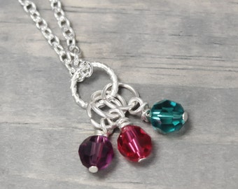 Mother Of Three Birthstone Necklace, Mother Necklace, Mommy Necklace, Charm Necklace, Birthstone Jewelry, Mother Jewelry, Charm Jewelry