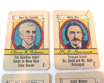 Antique Author Cards, Author Card Lot, Louisa May Alcott Trading Card, Oliver W Holmes card, Stevenson Trade Card,Rudyard Kipling Trade Card
