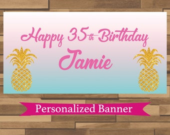 """18""""x30"""" Pineapple Theme Personalized Party Banner 