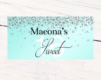 Sweet 16 Diamond Banner  ~ Aqua Birthday Personalized Party Banners - 18th Birthday Banner, 21st Birthday Banner, Printed Vinyl Banner