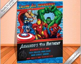 50% OFF SALE - Avengers Super Heroes Birthday party Invitation, Super Heroes comic invitation printable. Free thank you card!