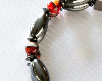 Red and Black Magnetic Therapy Double Strand Bracelet