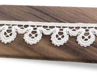 100% Organic Cotton Lace, Natural, Undyed, Sold by the Yard, 26mm
