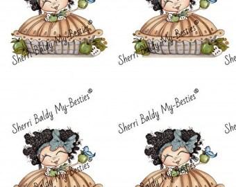 Instant Download Apple pie girl color printable Card Toppers  kit Besties Big Head Dolls Digi By Sherri Baldy