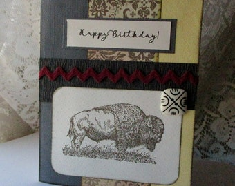 Birthday Cards, Handmade Birthday card, Buffalo greeting, Hand stamped, Wild animals, Stampin Up stamped image, Masculine dad brother son