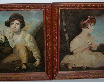 2 Excellent Mid-Century Paint By Number Oils-J Reynolds Age of Innocence 24X20
