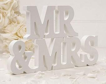 White Wooden Mr & Mrs Wedding Venue Decoration Keepsake, Anniversary Gift