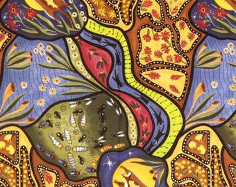 Australian Fabric, Aboriginal Fabric, Nambooka Fabric - Bambillah Flying Glider & Honey Ants  - Priced by the half yard