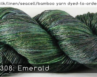 DtO 308: Emerald (a RavensWing color) on Silk/Linen/Seacell/Bamboo Yarn Custom Dyed-to-Order