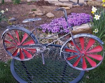 Rustic Bicycle Metal Weathervane with Red Fan Blade Wheels