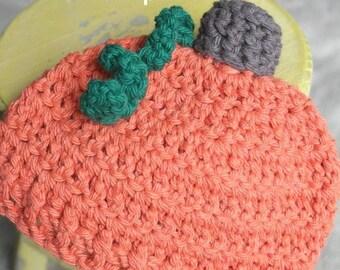 Newborn Pumpkin Hat   Crochet Pumpkin Hat Pattern   Baby Pumpkin Hat Crochet Pattern   Newborn Baby Crochet Hat Pattern   PDF Pattern