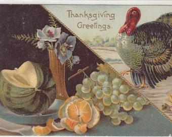 Embossed Antique Thanksgiving On Diagonal Turkey On One Side,Flowers&Fruit Below, Postcard