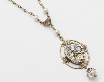Steampunk Necklace vintage silver watch movement gears Victorian gold filigree leaf pendant pearl statement necklace Steampunk Jewelry gift