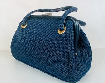 Vintage 1960s JR Florida Blue Woven Tweed Top Handle Handbag
