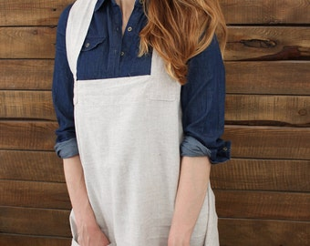 Linen pinafore apron, cross back apron, gapanese apron, no tie apron, full length apron, pinafore linen, apron with pockets, multiple colors