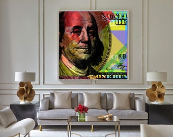 Benjamin Franklin Pop Art Andy Warhol style - giclee on canvas
