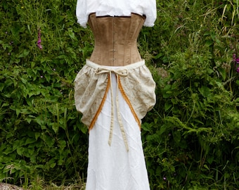 One Of A Kind Handmade Steampunk Long White Cotton Diagonal Skirt With Embroidered Floral Design Adjustable Tie Bustle Skirt Size Medium