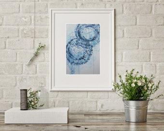 Blue Flower Watercolor Painting Dandelion Art Floral Drawing Mom Gift Best Friend Gift Modern Home Décor Blue Flower Dandelion Blue Wall Art