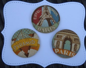 Paris Landmarks- fabric covered button collection - size 60