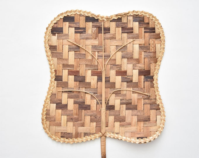 large 1970s brown delicate woven rattan fan / wall basket