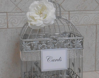 Silver Wedding Birdcage Card Holder | Silver Birdcage | Silver Wedding Decor | Wedding Card Box