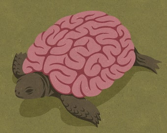 Tortoise brain: signed limited edition, colouful, conceptual,  illustration print