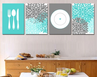 Dining Room Art - Printable Kitchen Art - Kitchen Decor - Kitchen Prints - Silverware Art - Dahlia Art - Floral Kitchen - Housewarming Gift