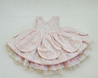 Ballerina Pink Lace Petal Dress with Petticoat