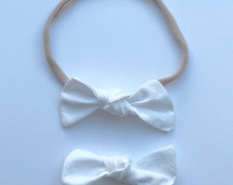 Knot Bow, White, nylon headband, alligator clip, infant, toddler, baby gift