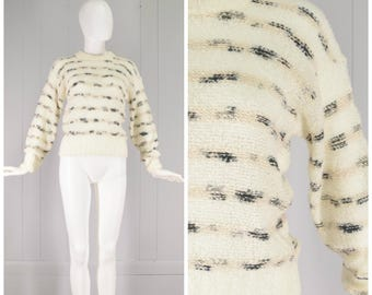 Vintage Womens 1970s / Early 1980s Nubby Texture Ivory Crew Neck Chunky Knit Sweater with Peach and Gray Stripes | Size S/M