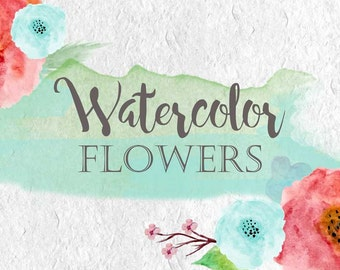 Water color clip art flowers