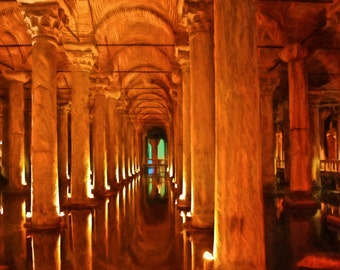 Basilica Cistern's Marble Columns, Istanbul, Turkey, Historic Site, Istanbul Art, Constantinople, Orange, Historic Columns, Cistern Painting