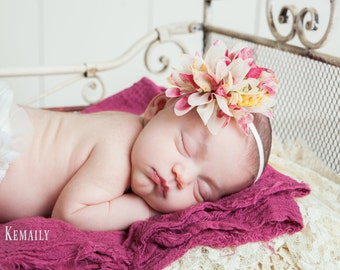 Dusty Vintage Floral Headband, Newborn Headband, Baby Girls Headbands, Baby Hairbow, Newborn Headbands