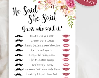 He Said She Said Bridal Shower game, Wedding Shower Game, Bridal shower game, Bridal shower activity, Watercolor Floral Flower Game