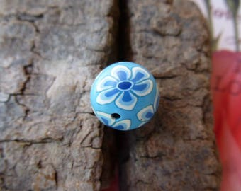 round Pearl White and blue polymer clay flowers 14 mm for jewelry, decoration, hobby and craft creations