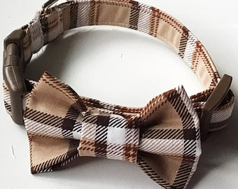 Brown & Beige Bow Tie Collar for Male Cats and Dogs