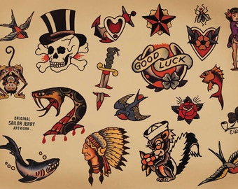 Sailor Jerry Temporary Tattoos - Traditional Temporary Tattoos - Old School Temporary Tattoos - Vintage Tattoos - Tattoo - Tattoos
