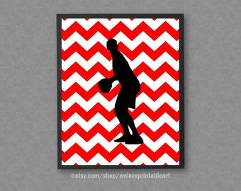 Basketball Wall Art, Black and Red Chevron, Sports Art Print, Sports Printable Art, Sports Wall Decor, Basketball Wall Decor, Sports Poster