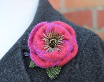 Wool Flower Brooch Pink and Magenta Rose Flower Pin